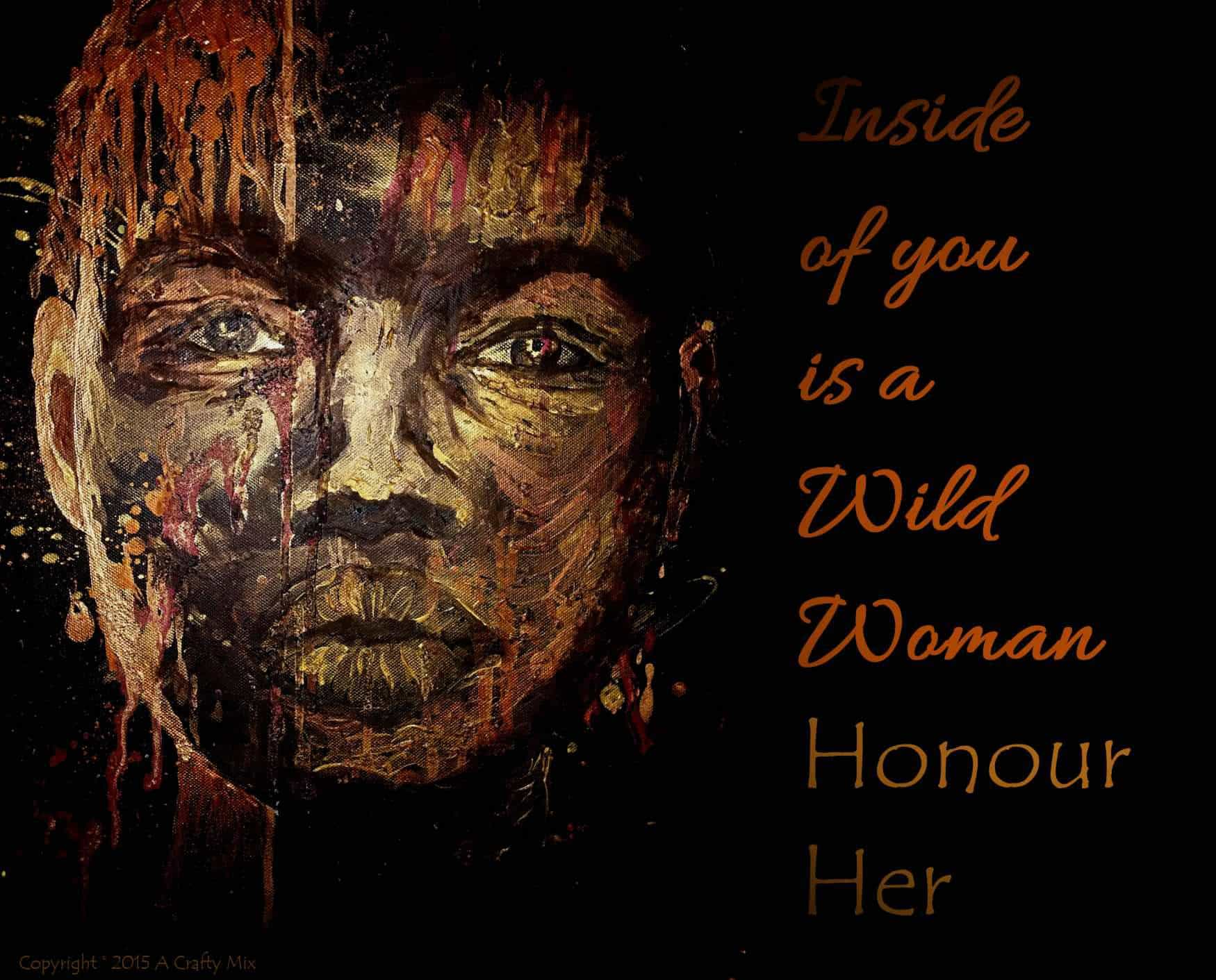 Mixed media oil and acrylic on canvas - Wild Woman