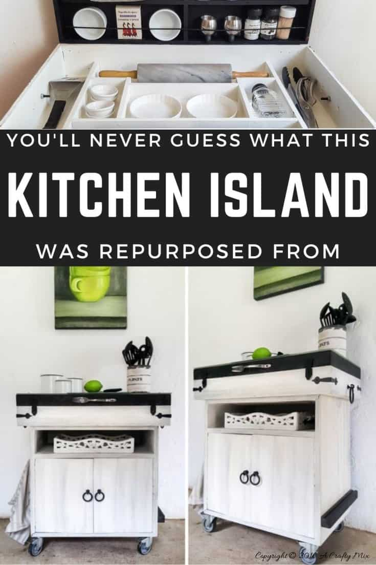 So many thrift store finds can be used to make a kitchen island. I bet you'll never guess what we used to make this one #KitchenIslandDIY #Repurposed #ACraftyMix #ThriftStoreFinds