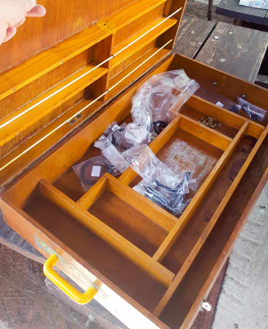 A fishing tackle box has the potential to become so much more. We used this one to make a kitchen island