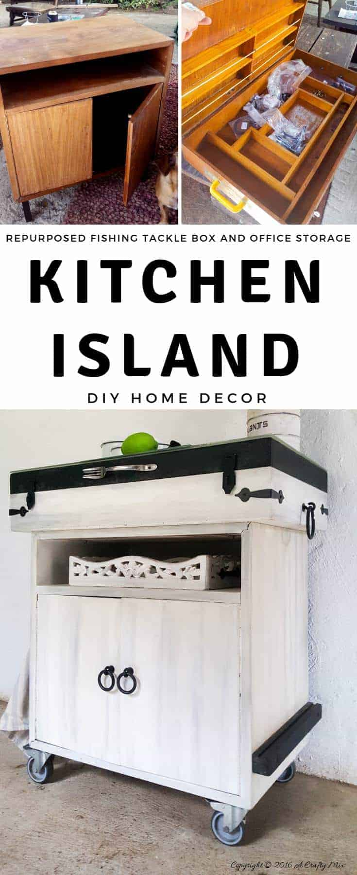 When two totally unrelated things come together they make magic. Kitchen Island kinda magic. A fishing tackle box and old office storage are repurposed into this beautiful island. #DIYHomeDecor #DIYKitchenIsland #RepurposingIdeas #FishingTackleBox