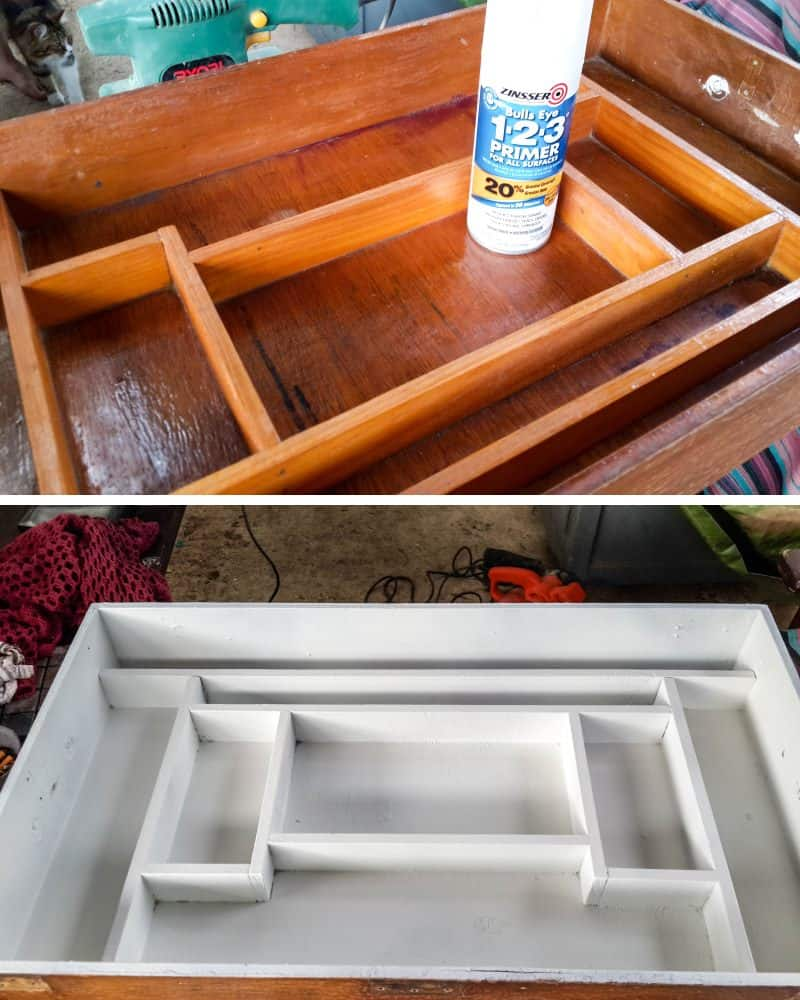 Clean and seal the inside of the fishing tackle box to prevent smells and bleed through