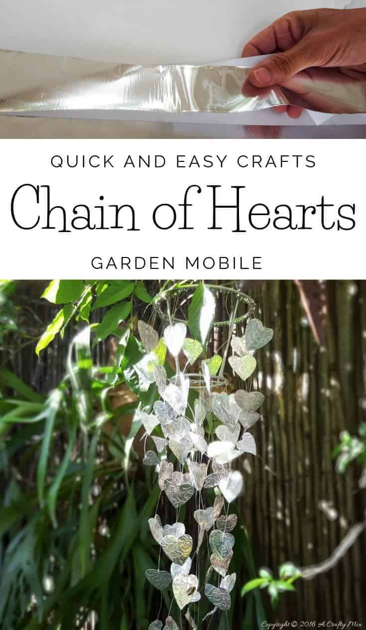 Re-urpose an old lamp shade and make your own Chain of Hearts mobile using this easy tutorial #gardenart #gardenideas #gardencrafts #acraftymix