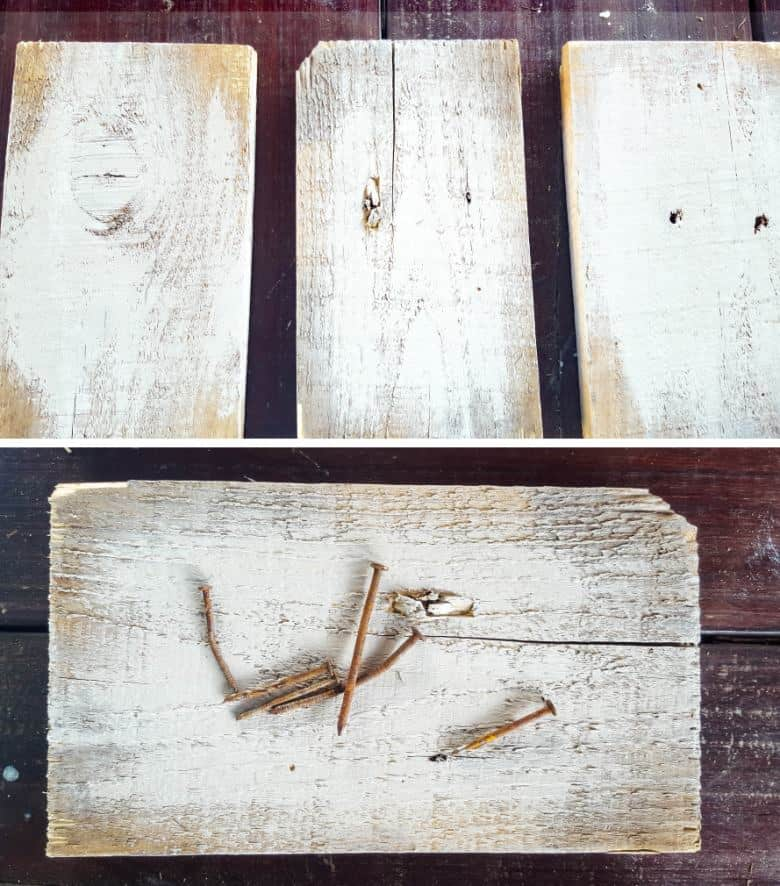The primitive hearts can be hung from a rustic piece of scrap wood. I used pallet off-cuts