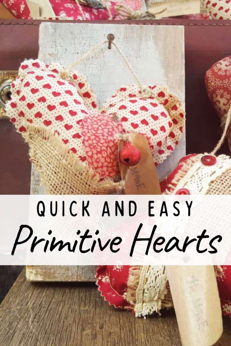 Primitive hearts and bed springs make an awesome Valentine's gift. Quick and easy with tips on adding simple interest and free label printables #FolkArt #ValentinesDay #ACraftyMix #PrimitiveCrafts