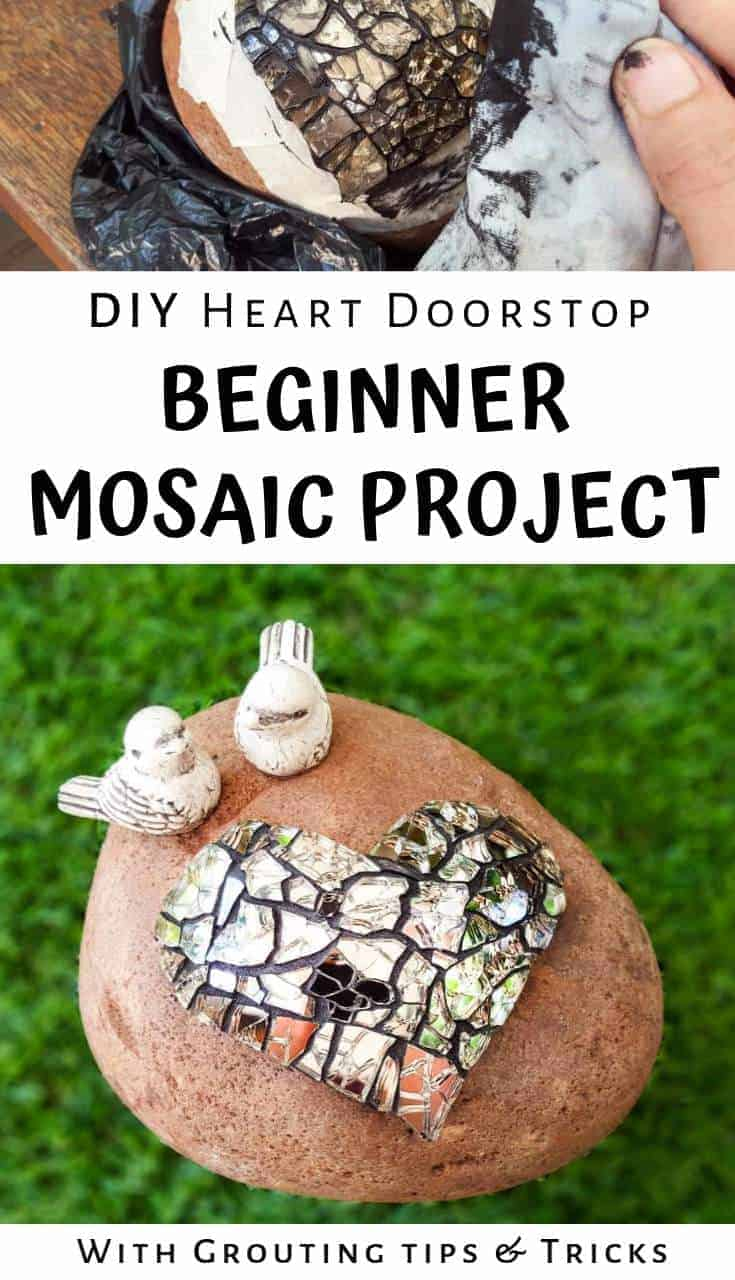 How to mosaic a heart doorstop or garden ornament Great Valentine's gift idea or just to tell someone you love them. Includes grouting tips #Mosaic #GroutTipsandTricks #BeginnerTutorial #HeartDoorstop #ValentinesGiftIdea