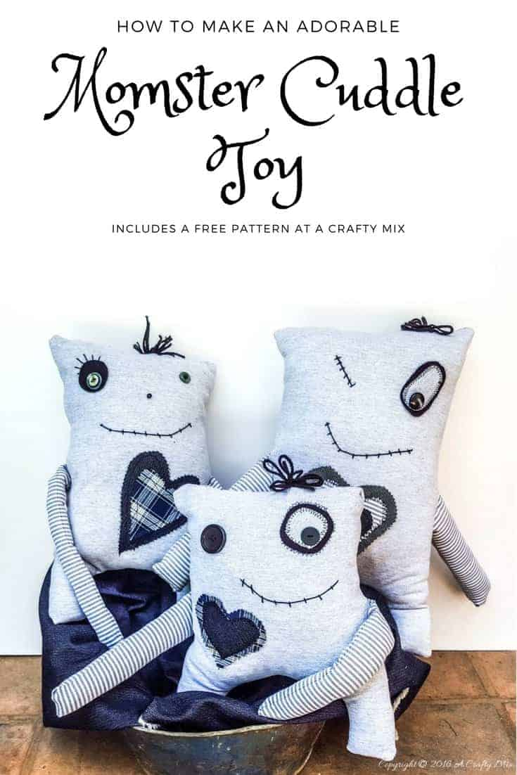 Make your own little Momster. Includes a free pattern and lots of ideas to customize his little face #sewing #momster #freepattern