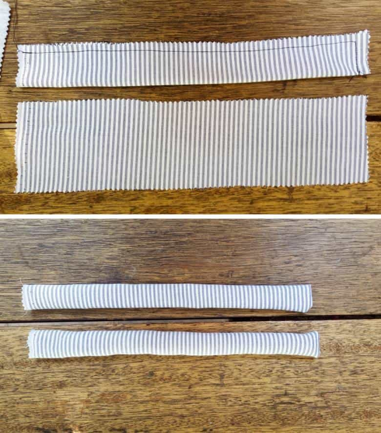 Sew along the edges of the arms and flip
