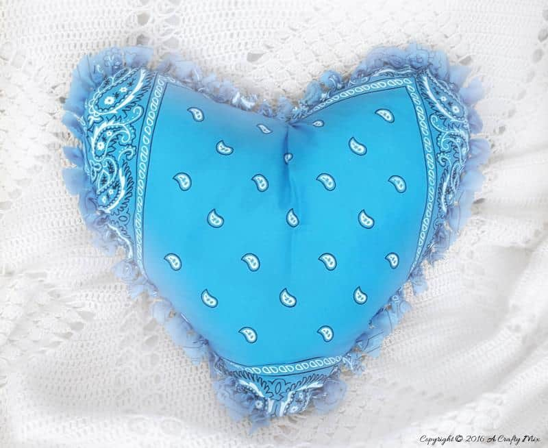 No Sew Bandana Heart Pillow