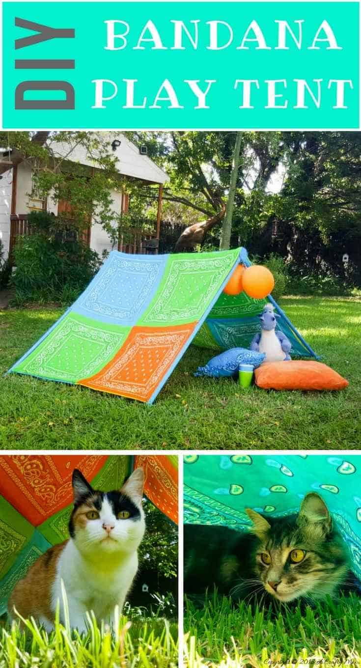 DIY Bandana play tent. A perfect little hide-away for the kids this summer. #kids #bandana #playtent