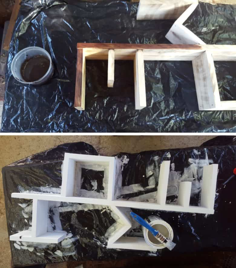 Stain the HOME shelf with a water based stain and then paint on a layer of chalk paint
