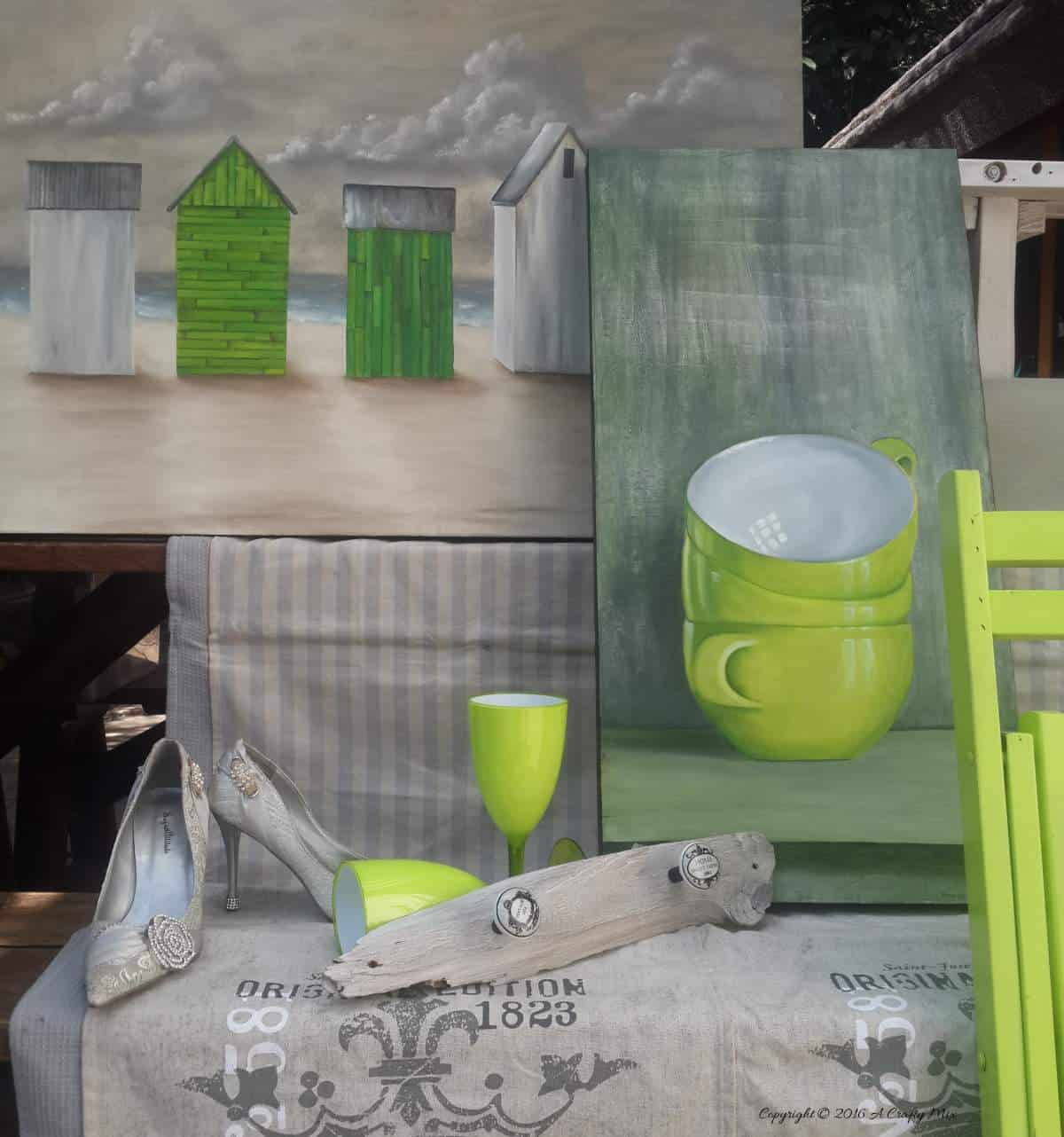 Creating the lime green and grey palette