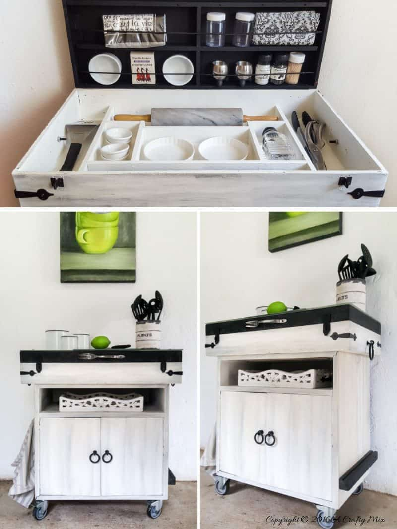 Repurpose a fishing tackle box and office storage to make a unique kitchen island #ACraftymix #StorageSolutions #SmallSpace