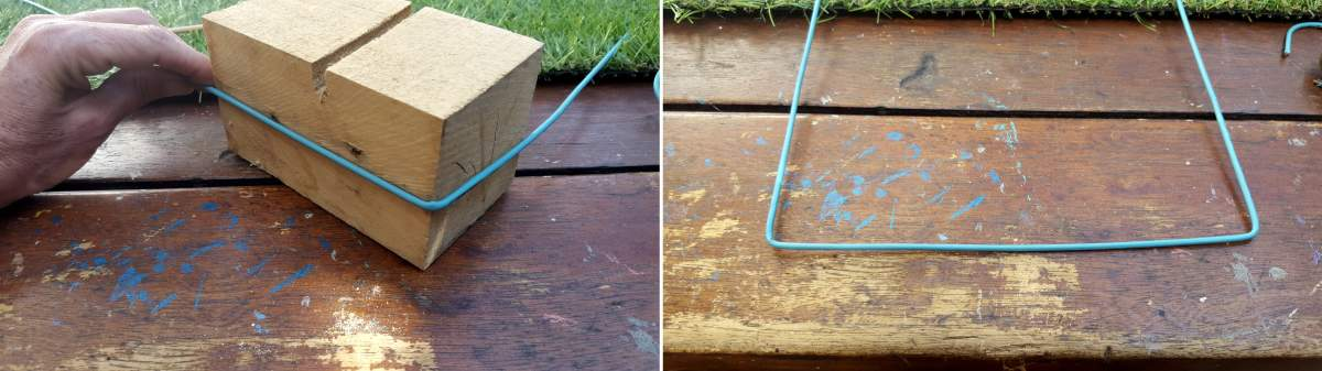 Use a block of wood to bend the wire