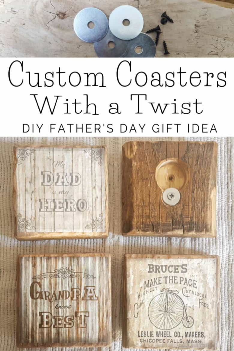 Easy Father's Day DIY gift idea - Custom coaster with a twist that double up as bottle openers. #giftidea #fathersday #ACraftyMix #palletrepurpose