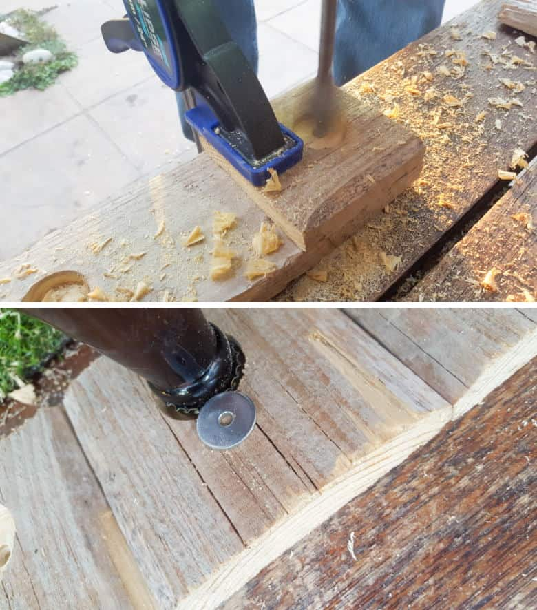 Use a hole saw drill bit to make a hole in the squares