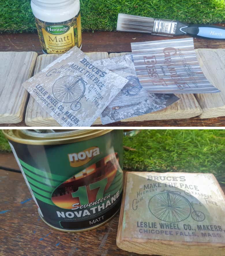 Mod podge your custom image on top and seal with waterproof varnish