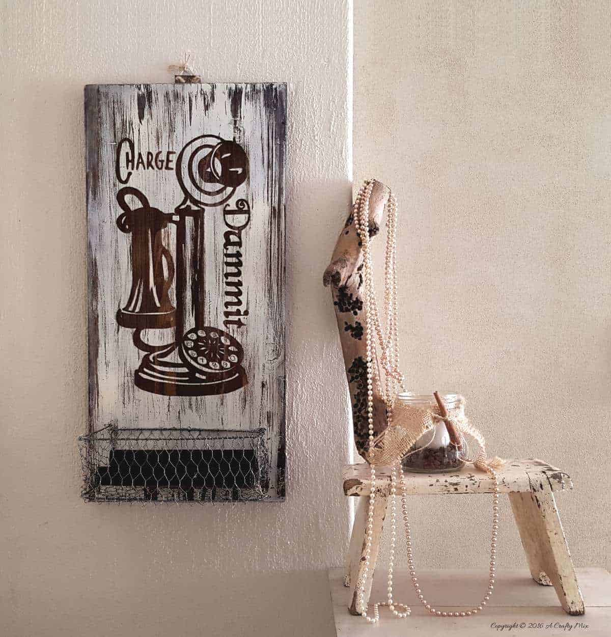 Old cupboard door recycled as a charging station - full tutorial on the blog
