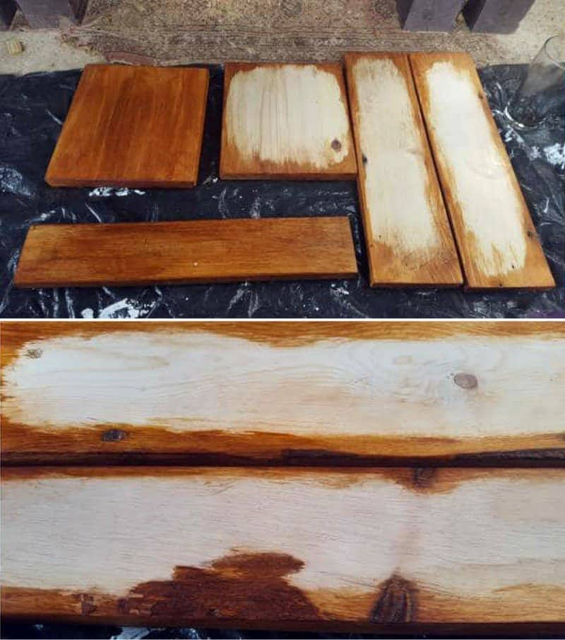 Stain the outside edges of the wood pieces in a rich brown