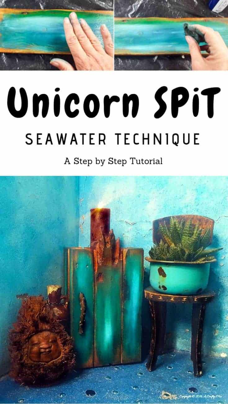 Getting this Seawater Unicorn SPiT look was so easy. Unicorn SPiT is the most amazing wood and gel stain. Love these colors #unicornspit #DIYHomeDecor #GelStain #trendingdecor #diytutorial