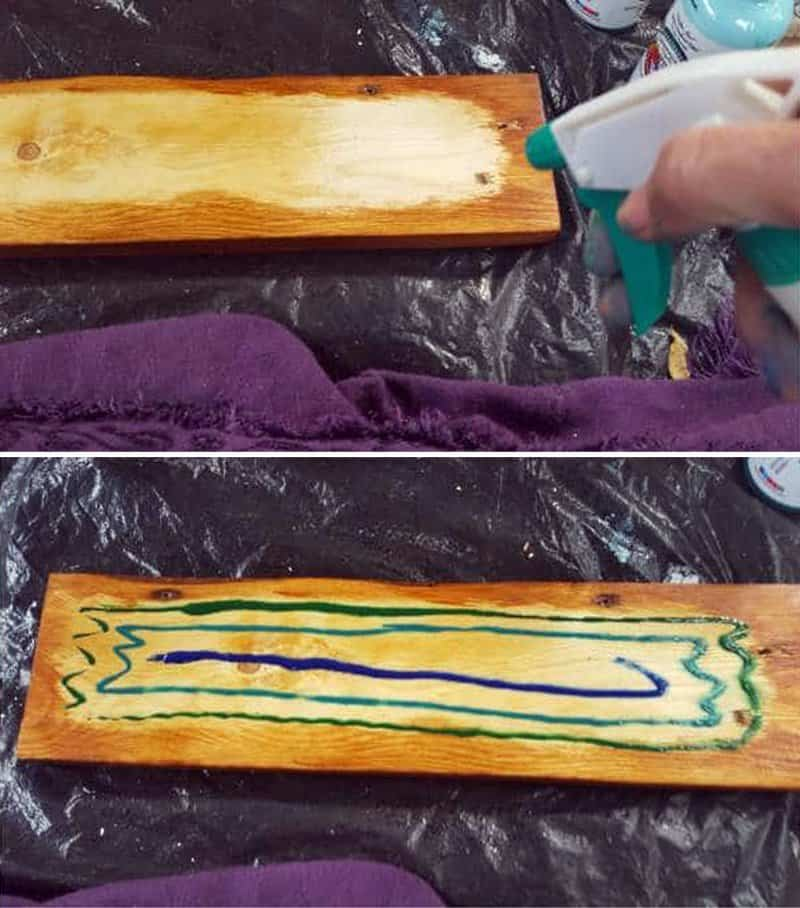 Spritz some water onto the raw untreated wood and then apply the unicorn SPiT