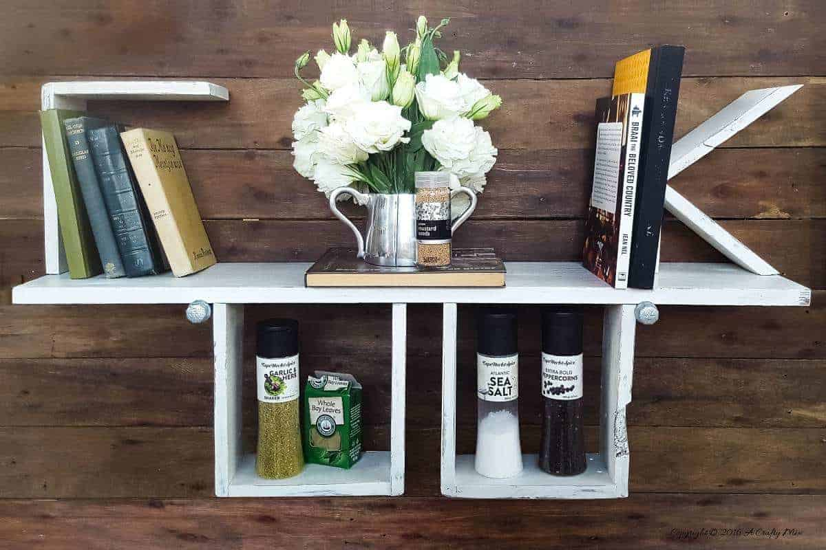 Make something special for the chef in your life. This unique COOK shelf is functional and easy to make from pallets or scrap wood. #StorageIdeas #CookShelf #ACraftyMix #PalletRepurpose #ShelfIdeas