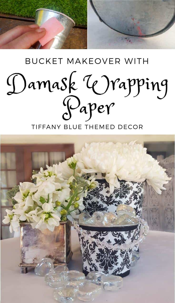 How to makeover a tin can using damask paper for Tiffany blue themed decor #DIYHomeDecor #TiffanyBlue #Tincanmakeover #damaskpaper