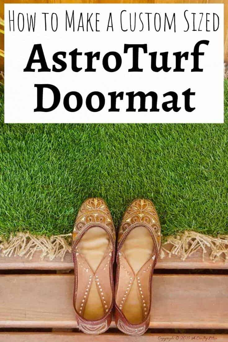 When you can't find a doormat that's the right size for your patio, make your own with AstroTurf #DIYDoormat #CustomDoorMat #ACRaftyMix #OutdoorDoorMat #AstroTurfDoormat #DoormatTutorial