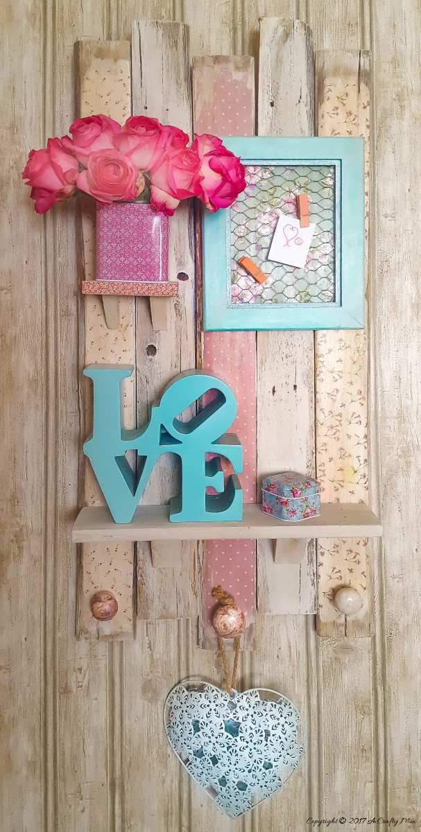 Use scrapbook paper and pallet bits to make a this beautiful shabby chic shelf . Full tutorial on the blog