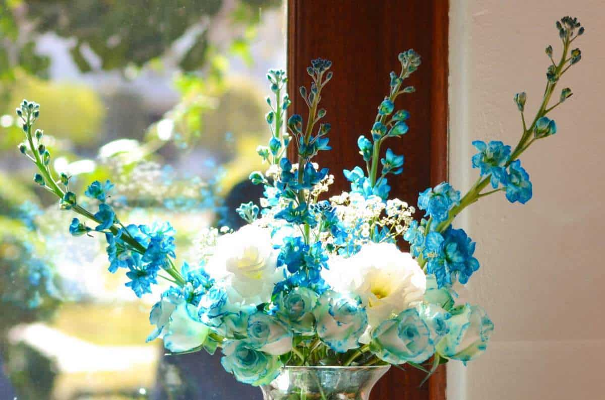 Roses and stocks for a Tiffany Blue birthday party