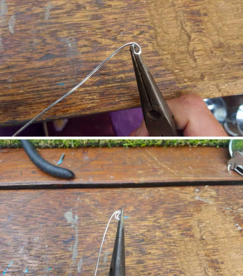 Use your needle nose pliers to make a small loop. Twist the wire around the loop