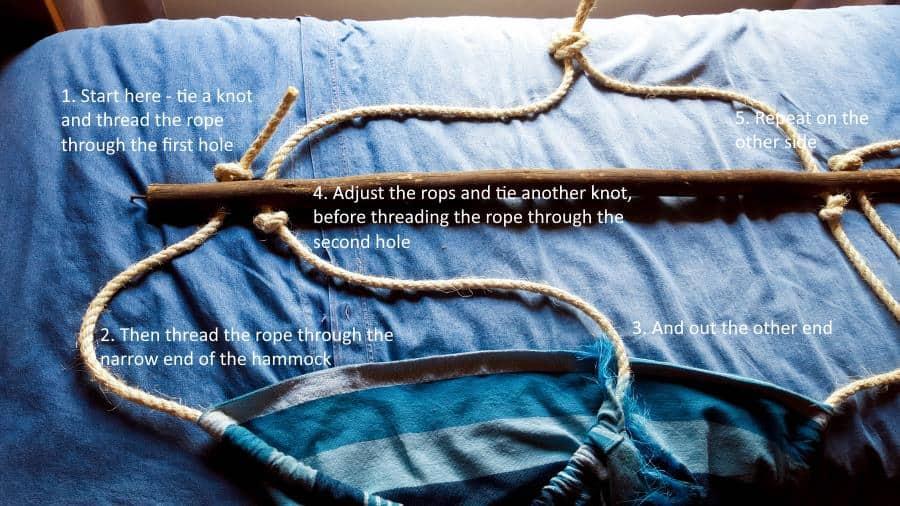 Step by step instructions to thread and hang the hammock #HammockDIY #ThrowRepurose #ACraftyMix #SummerTime #EasyDIYTutorial