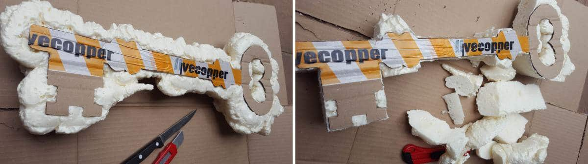 How to make a giant faux metal key using expanding foam. Full tutorial on the blog