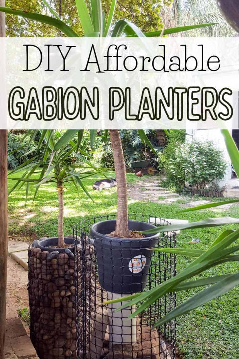 Gabion planters have been around for centuries to add interest to gardens and landscapes and they are surprisingly easy to make too. Get a step-by-step tutorial with tips to make your own #gabionplanter #DIYPlanter #ACraftyMix #GabionIdeas