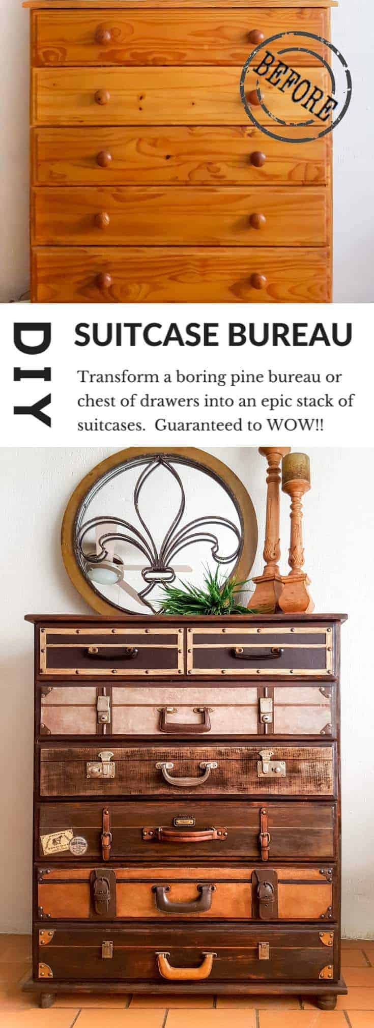 How To Turn A Boring Bureau Into An Epic Stack Of Suitcases A Crafty Mix