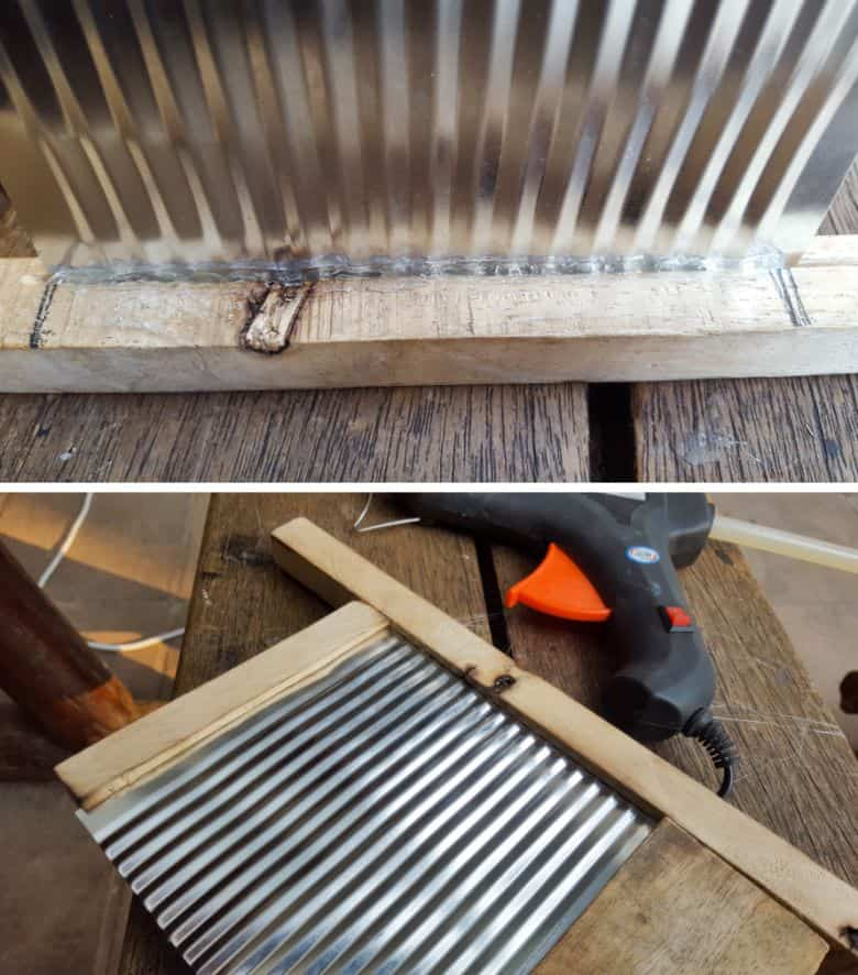 Glue the upcycled tin can to the washboard frame