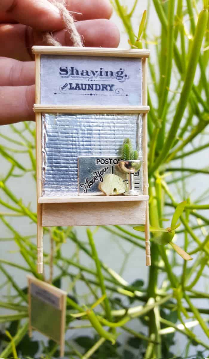 Adorable miniature washboard ornaments that can be made in a morning #DIYMiniature #ChristmasOrnaments #Ornaments #Miniature
