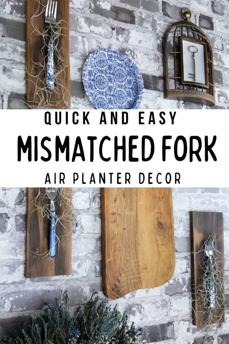 Do you have a whole bunch of ,mismatched forks? Save them to make this quick and easy planter idea and add a unique touch to your gallery wall. #DIYHomeDecor #GalleryWall #ACraftyMix #Repurpose #AirPlanter