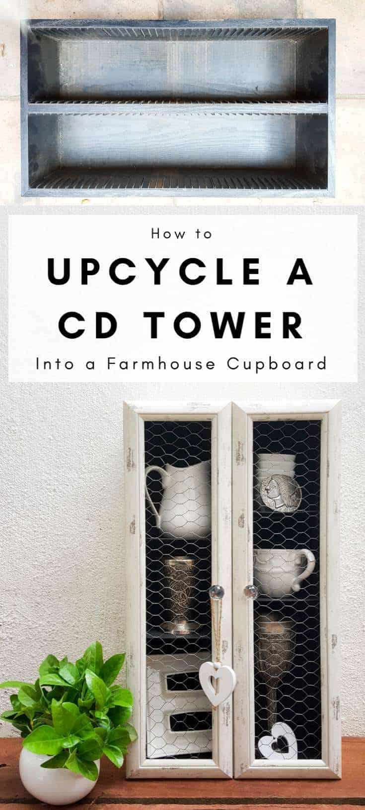 Don't throw that old CD Tower out just yet. You can upcycle it into this rustic farmhouse cabinet. It's perfect for all those knick knacks and other keepsakes #CDTower #Upcycle #Repurpose #DIYHomeDecor #DIYTutorial