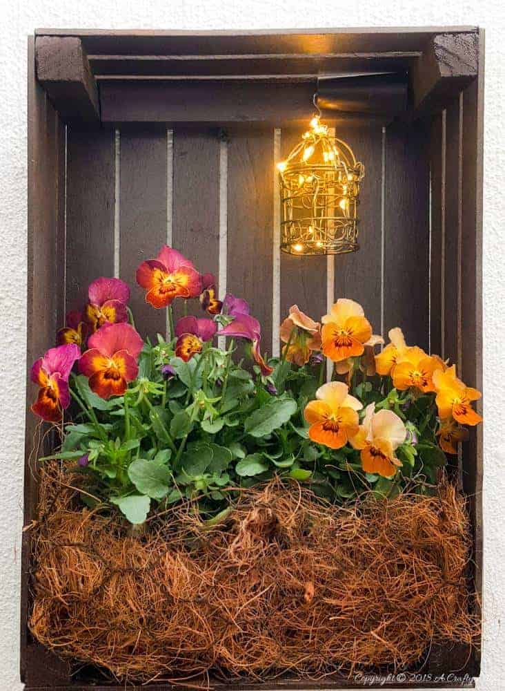 Easy DIY tutorial to make a paint stirrer crate planter using paint stirrers and a staple gun. Add a small light to really make it pop #DIYHomeDecor #DIYPlanter #FairyLights #EasyDIY