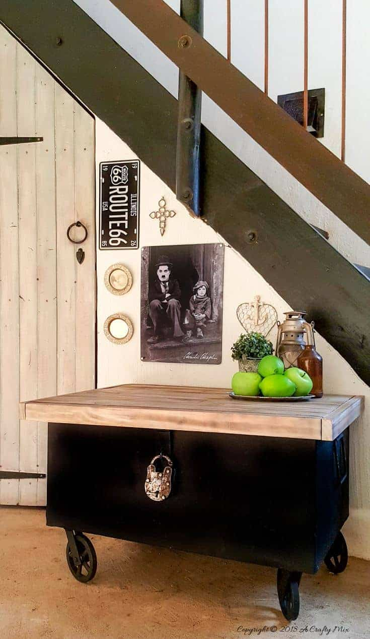 Transform an old metal trunk into this beautiful storage idea and hide your tools in plain sight #toolboxstorage #metaltrunk #repurpose #DIYMakeover