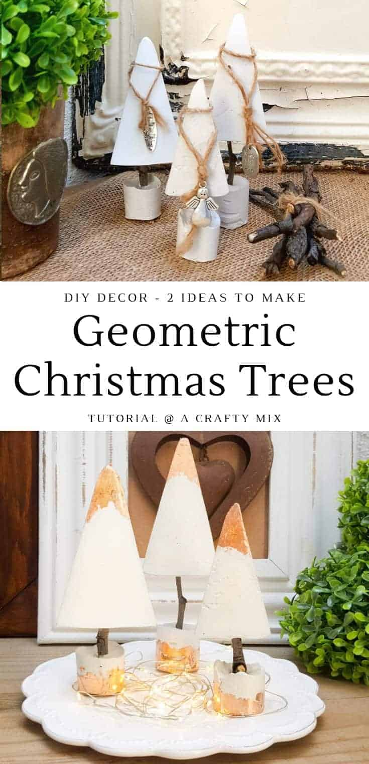Do It Yourself modern geometric Christmas trees • Two ways with these unique DIY geometric Christmas trees. Glam them up or go for a rustic, natural look. They're fun and inexpensive to make #geometric #christmastree #easyDIY #copper #rustic #diytutorial