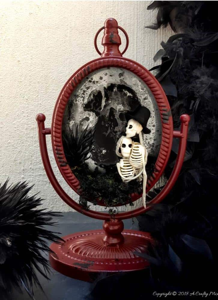 Adorable and Not So Spooky Halloween Decor and making a ghost in the mirror tutorial. #halloweendecor #GhostintheMirror #LoveNeverDies #Halloweencouple #notscaryhalloween