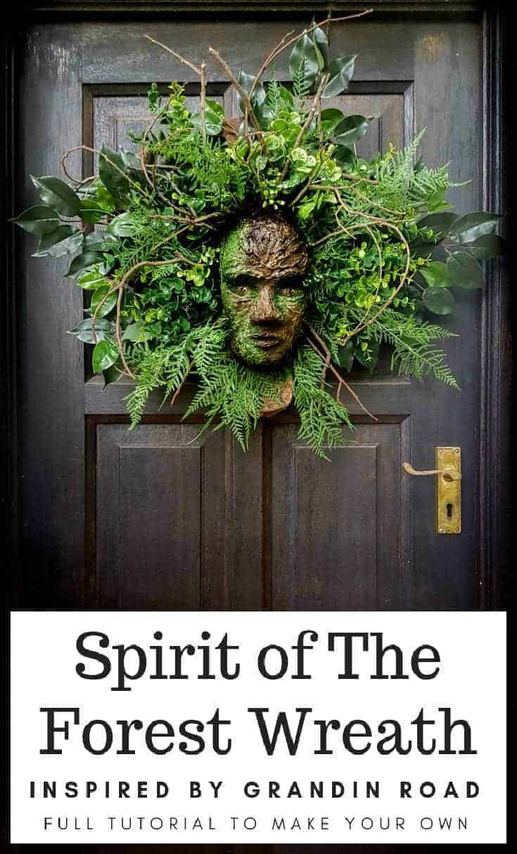 How to make a Spirit in the Forest wreath. A Grandin Road knock-off that looks amazing and you'll have so much fun doing it. #GrandinRoad #spiritoftheforest #greenmanwreath #SpringHomeDecor #DIYHomeDecor #HalloweenWreath #DIYTutorial