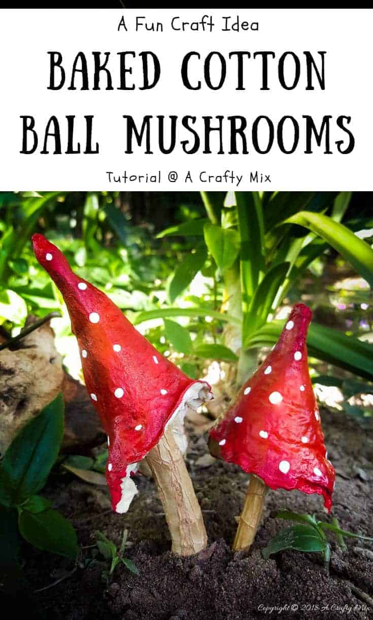 Crafting is fun. How to make baked cotton mushrooms with things you have at home. #CraftMushrooms #CottonCrafts #FairyGarden #CottonOrnaments #CraftTutorial