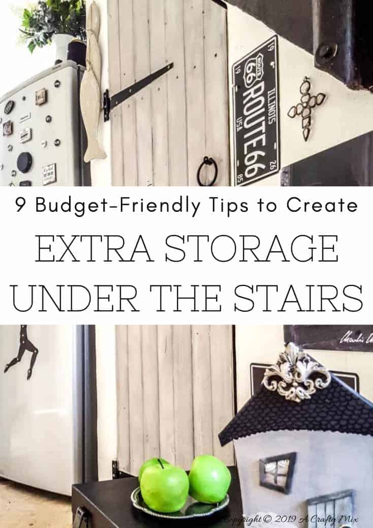 """Tips and tricks to make the most of that wasted space under your staircase and create extra storage that's easy to organize and functional. Includes free labels and """"find my crap cheat sheet. #UnderstairsIdeas #understairsstorage #DiyStairsStorage #BudgetStorage #SmallSpaceStorage #tinyhouse"""