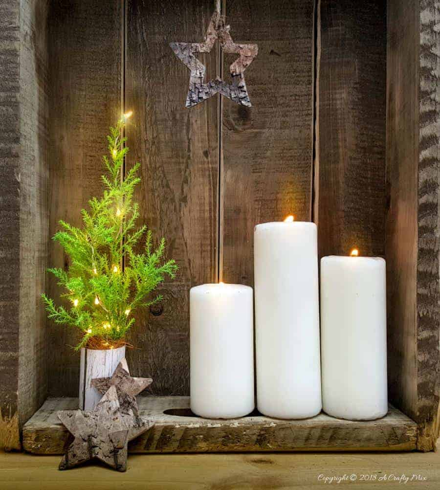 These 5 minute real Miniature Christmas Trees with lights are easy, inexpensive and soooo much fun to make. Add a little festive cheer to your home with these adorable table top Christmas tree decorations! #DIYChristmastree #DIYHolidaydecor #Christmascraftsforkids #Christmastabledecor #Festivetabledecor