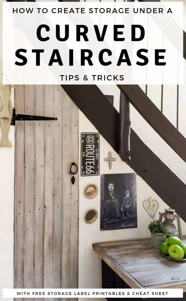 """Tips and tricks to make the most of that wasted space under curved stairs and create extra storage that's easy to organize and functional. Includes free labels and """"find my crap cheat sheet. #UnderstairsIdeas #understairsstorage #DiyStairsStorage #BudgetStorage #SmallSpaceStorage #tinyhouse"""