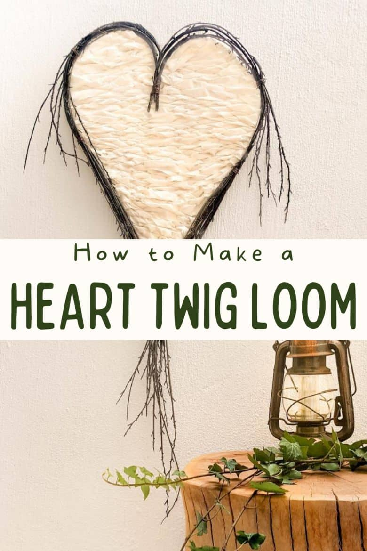 How to make a heart twig loom. Beautiful boho decor inspired by nature and love #BohoDecor #Valentinesday #WallArt #ACraftyMix #WeavingTutorial