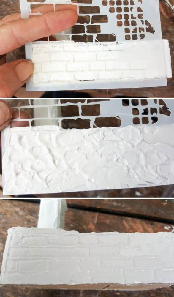 Adding the brick detail to the fairy water feature #DIYFairyWaterFeature #WaterFeature #FairyGardens