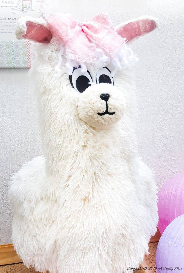 """How to make an adorable """"No Drama, Llama Chair"""". Unique one of a kind DIY to fall in love with and make yourself. DIY Tutorial from A Crafty Mix #llamaDIY #DIYTutorial #LlamaChair #LlamaDecor"""